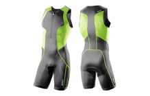 2XU Men's Comp Trisuit Frontzip charcoal/vibrant green